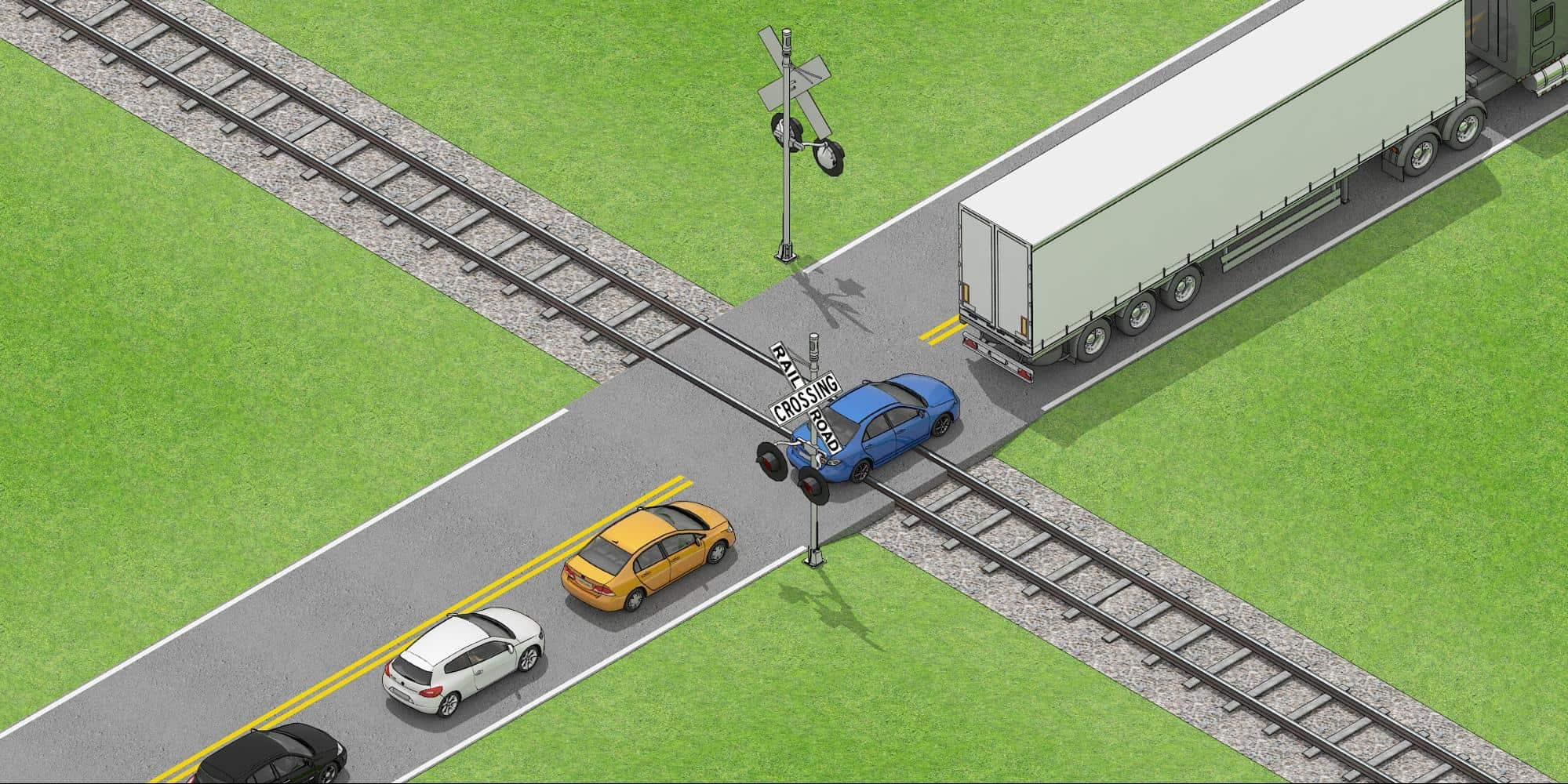 car that is stuck or stalling on railroad tracks