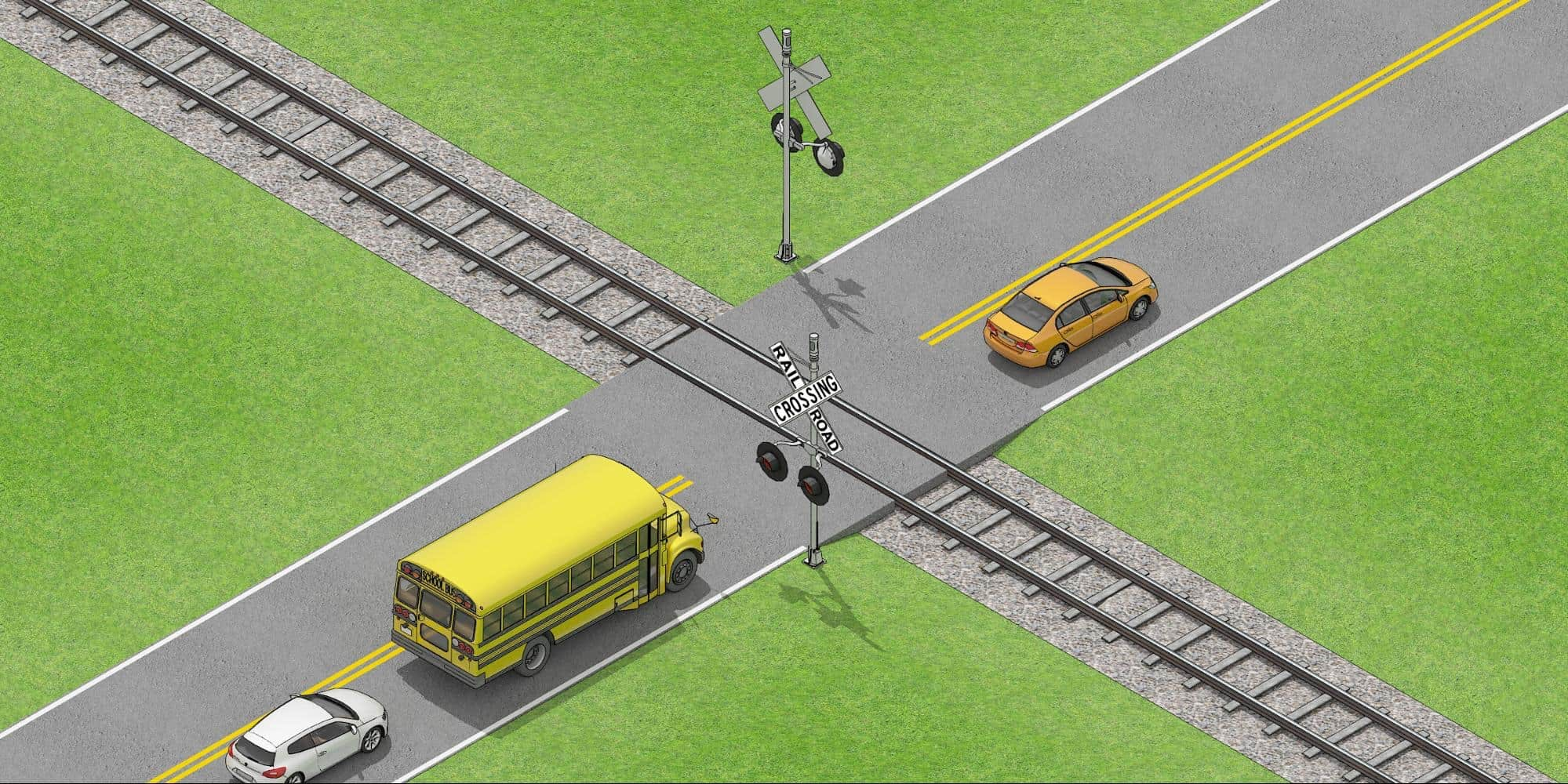 a school bus stopped before railroad crossing