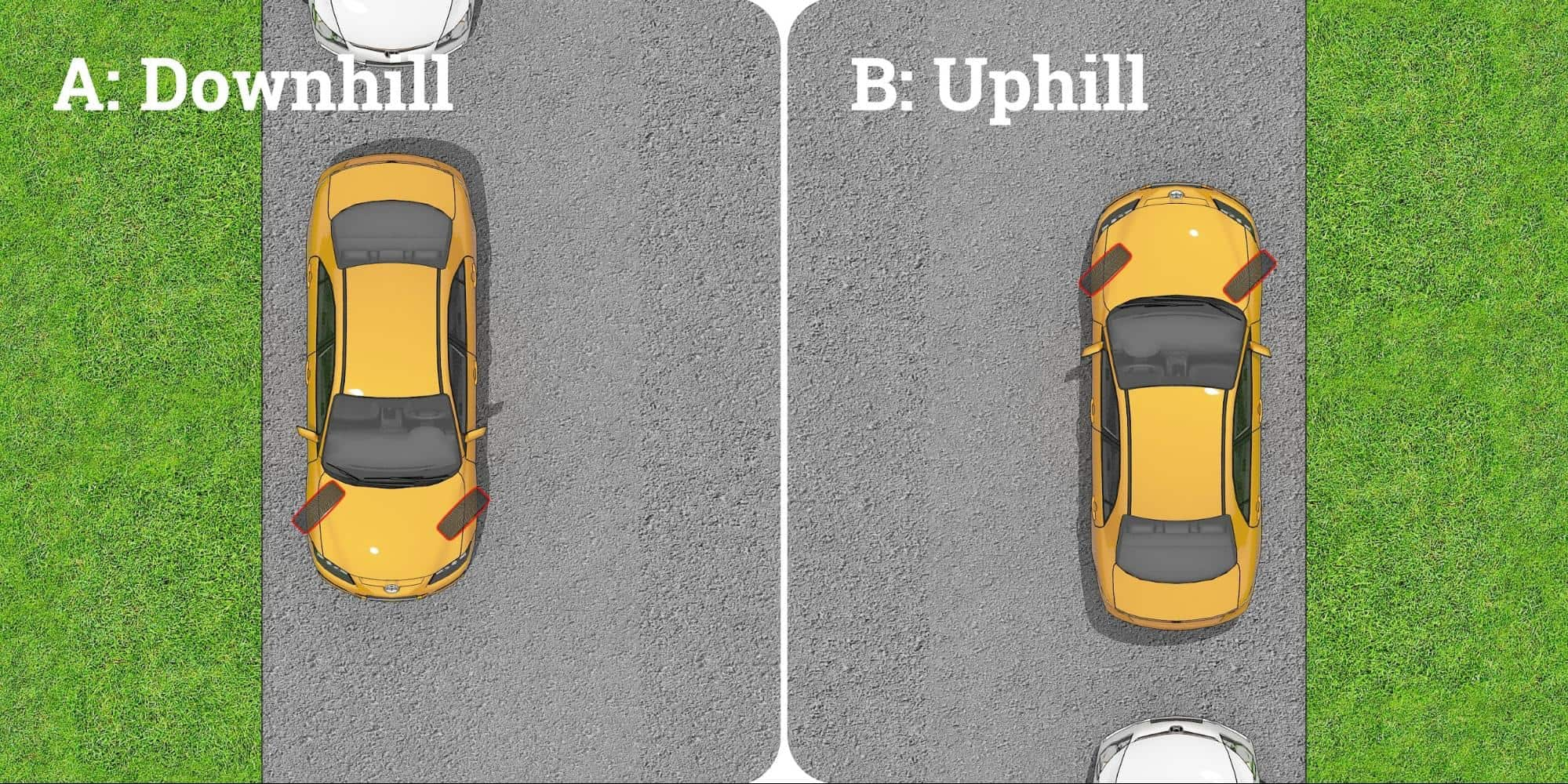 how to park uphill and downhill on roads without a curb