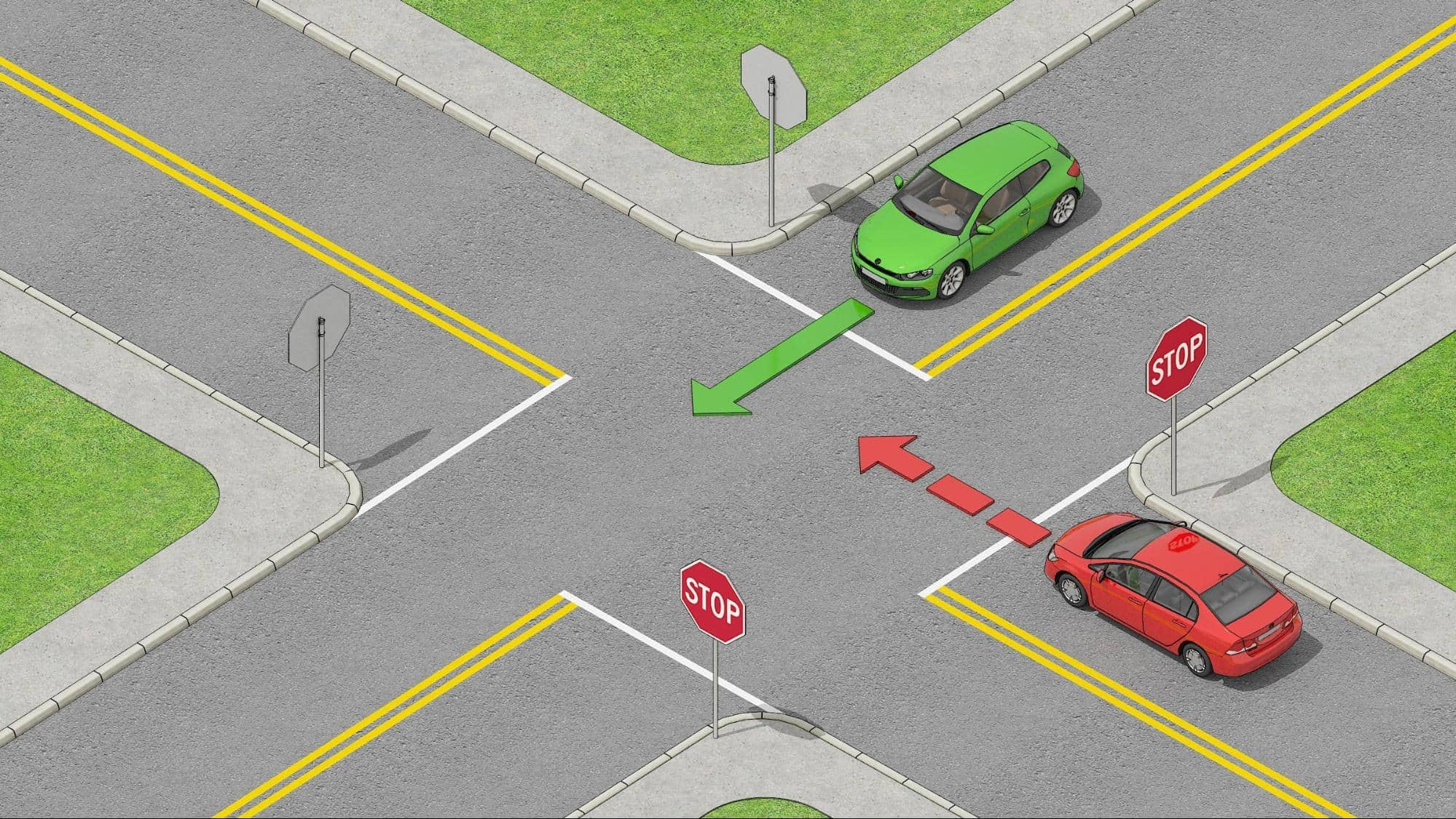 A red car that has to yield to a green car at an intersection