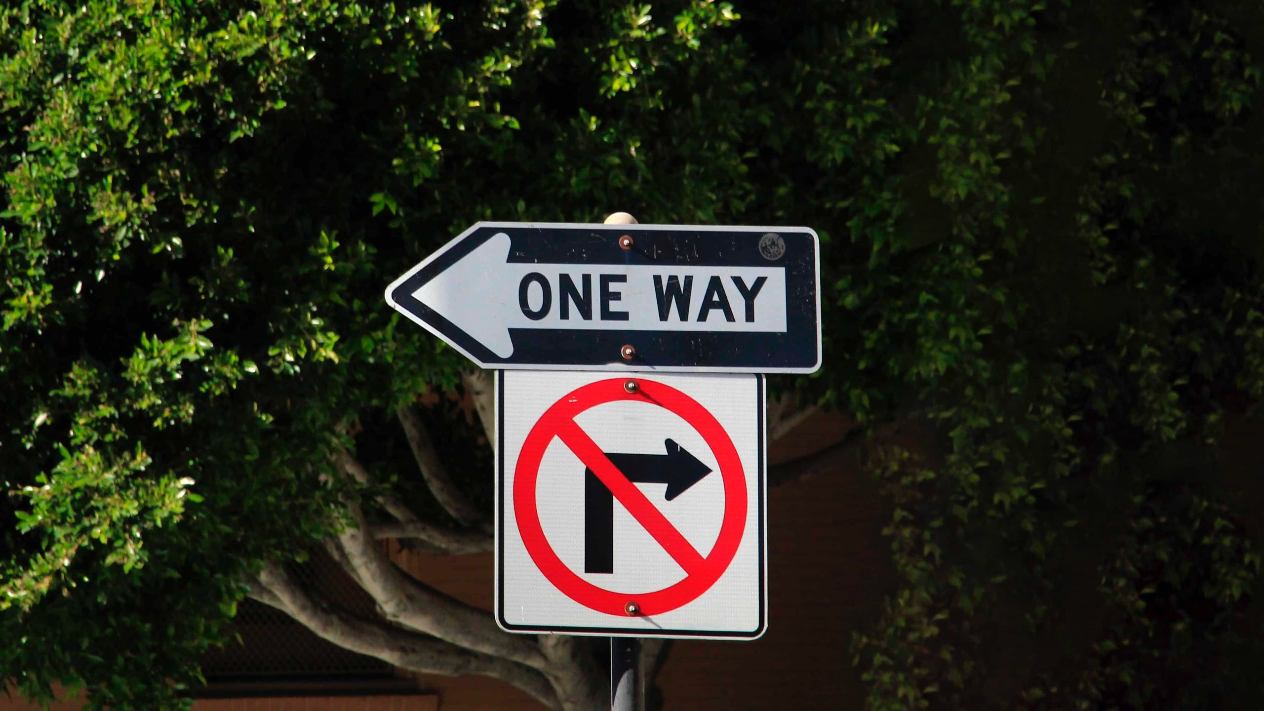One way street and no turning right sign