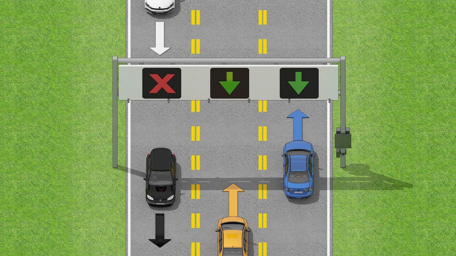 Cars driving on road where lane use control signals are used