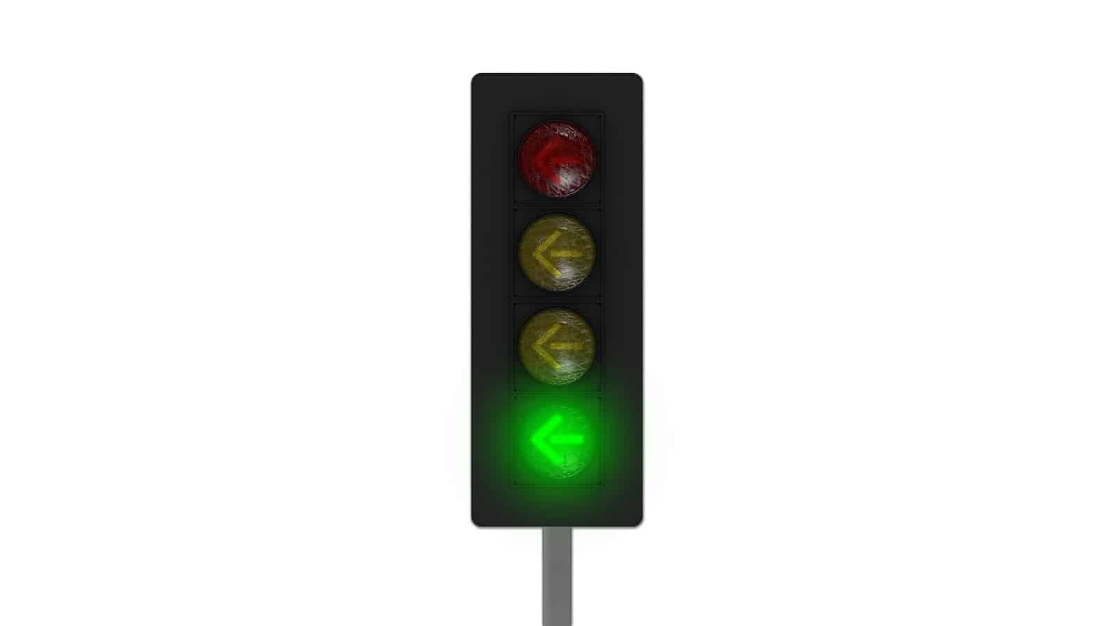 Green traffic light arrow