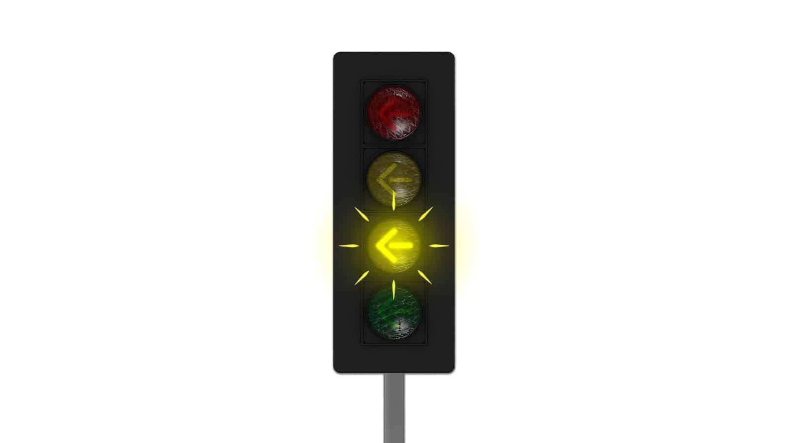 Flashing yellow traffic light arrow