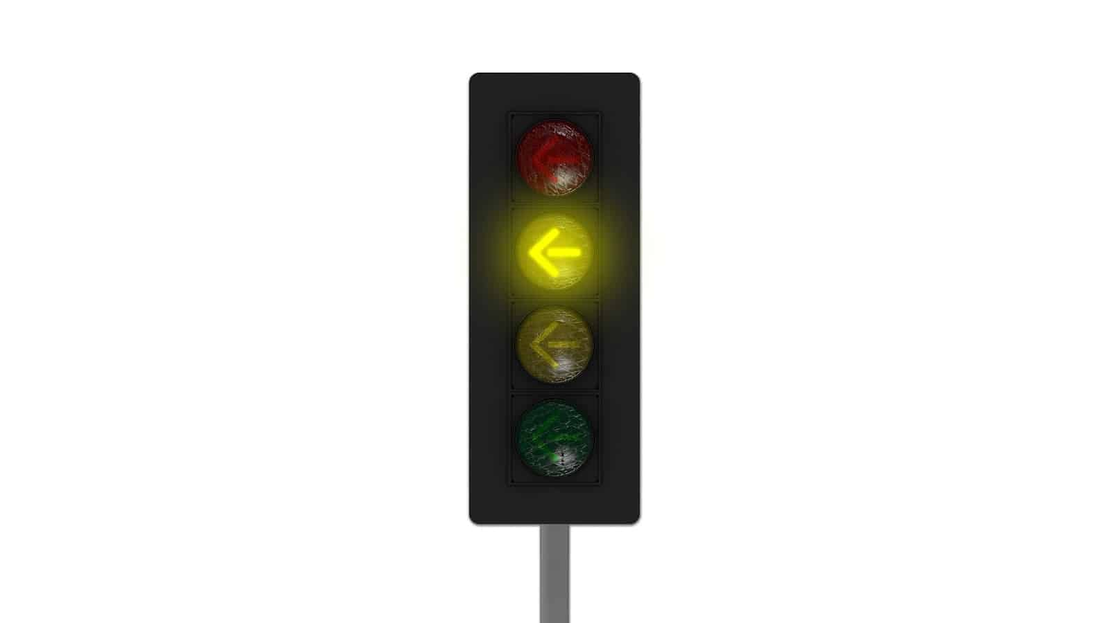 Yellow traffic light arrow