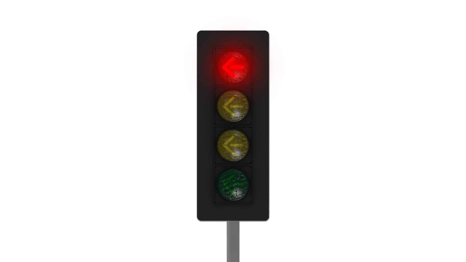 Traffic signals red arrow