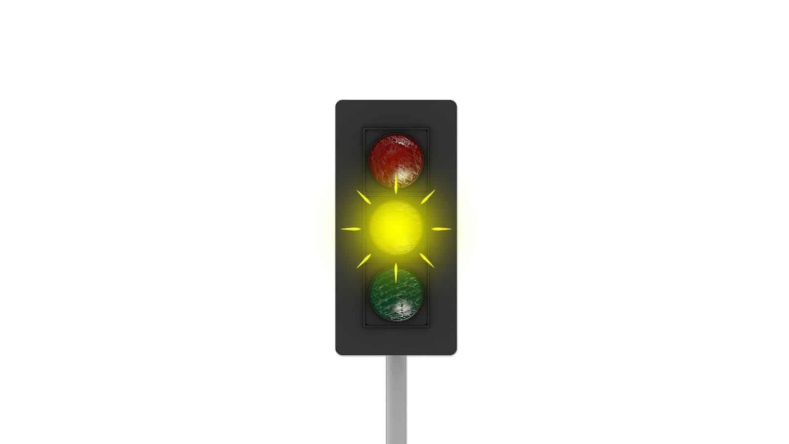 Yellow flashing traffic light