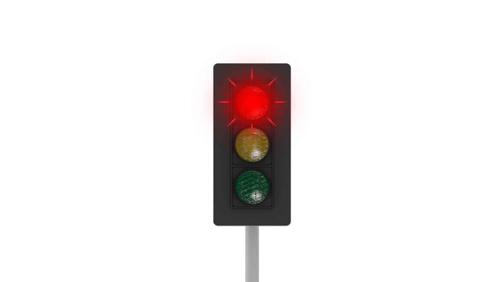 Red flashing traffic light