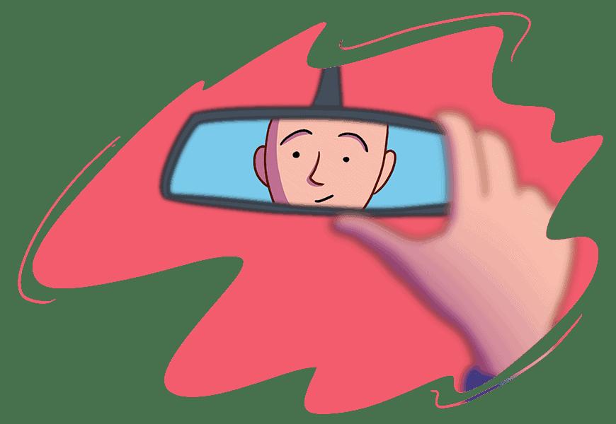man adjusting mirror for driving test