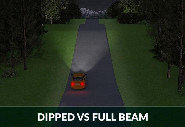 full beam vs dipped headlights